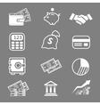 Trendy business and economics white icons set vector