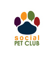 Social pet club paw concept design template vector