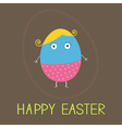 Easter painted egg with cute face card vector