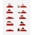 Set of different red cars with luggage for your vector