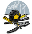 Screwdrive pliers and tape measure vector