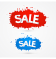 Red and blue sale blots splashes icons vector
