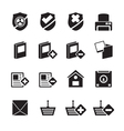 Silhouette internet and website buttons and icons vector