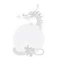 Chinese dragon greyscale vector