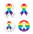 Rainbow flag ribbon - symbol of gay pride vector