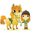 Girl stand with small horse vector