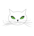 White cat face with green eyes vector