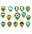 Seto of flag pointers with soccer football motif vector