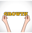 Growth word sticker in hand vector