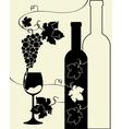 Bottle wine glass grapes vector