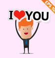 Man handling love tag sign - - eps10 vector