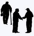 Silhouette of old people vector