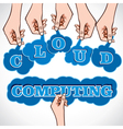Cloud computing word in hand vector