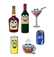 Happy cartoon beverage characters vector
