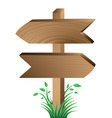 Wooden sign grass and leaves vector