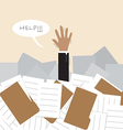 Businessman under a lot of document vector