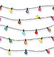 Seamless string of christmas lights on garland vec vector