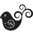 Cute wall clock bird sticker vector