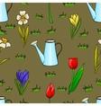 Cartoon gardening seamless pattern with spring vector