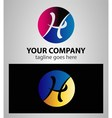 Abstract round icon and h logo vector