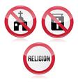 No religion no church no bible red warning sign vector