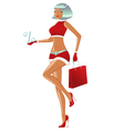 Christmas girl is walking with persent and bag vector