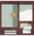 Set of floral vintage wedding cards on wood vector