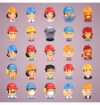 Builders cartoon characters icons set vector
