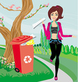 Recycling - girl throws paper into red bin vector