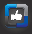 Social media button with hand on black background vector