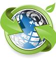 Globe with green arrow vector