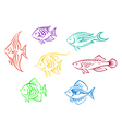 Set of seven colorful aquarium fishes vector