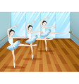 Three ballet dancers inside the studio vector