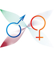 Two gender signs created from ribbon vector
