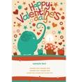 Happy valentines day greeting elephant vector