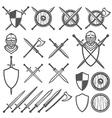 Set of medieval swords shields design element vector