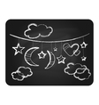 Black chalkboard with white clouds moon and stars vector