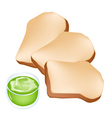 Cut loaf of bread with cup of coconut cream vector