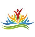 Teamwork flower with leafs logo vector