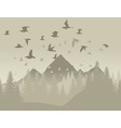 Birds in mountains vector