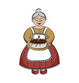 Character - old lady carry birhday cake vector
