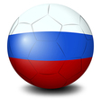 A soccer ball designed with the russian flag vector