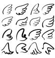 Wings sketch collection cartoon vector