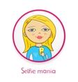 Selfie mania beautiful girl makes selfie in mirror vector