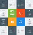 Calendar 2016 decign template week starts monday vector