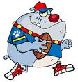 Gray bulldog football player running vector