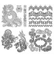 Black line art ornate flower design collection vector