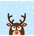 Reindeer christmas card snow background vector