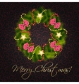 Realistic christmas wreath on vintage background vector