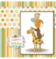 Funny cartoon birthday greeting card vector